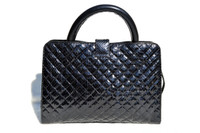 NAVY BLUE Chanel-Style 1980's-90's Quilted Snake Skin TOTE Shoulder Bag - LEO REXX