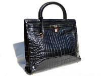 XXL 15 x 12 1990's Jet Black CROCODILE POROSUS Belly Skin KELLY Bag BRIEF - ITALY - HERMES Style!
