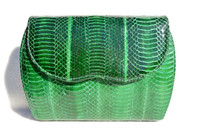 KELLY GREEN 1980's-90's Cobra Snake Skin Clutch Shoulder CROSS BODY Bag - J. Renee