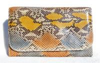 1980's Yellow, Orange & Blue Python Snake Skin Clutch Shoulder Bag