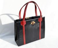 Black & RED 1960's MARTIN VAN SCHAAK Lizard Skin Handbag - BUMBLE BEE!