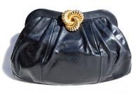 1970's-80's BLACK Susan Gail KARUNG Snake Skin CLUTCH Shoulder CROSS BODY Bag
