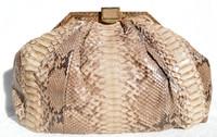 """XXL 15"""" TAUPE 1970's PYTHON Snake Skin CLUTCH Shoulder Bag - MOSKOWITZ"""