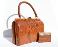 1960's-70's BURNT ORANGE BOA Snake Skin Handbag with Change Purse