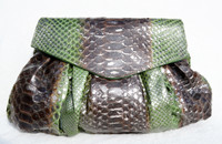 Stunning XL Metallic GREEN & BROWN PYTHON Snake Skin Clutch Shoulder Bag - Fatto a Mano CARLOS FALCHI
