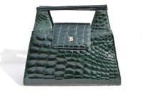 Stunning FOREST GREEN 1990's CROCODILE Belly Skin Handbag Shoulder Bag - BALLY