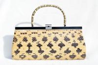 Gorgeous 1960's Yellow & Black ANACONDA Snake Skin CLUTCH Handbag - LUCITE!