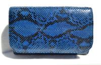 ELECTRIC BLUE 1970's-80's PYTHON Snake Skin Clutch Shoulder Bag