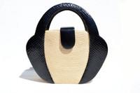 Victor Costa Natural 1980's STRAW Handbag w/ Black COBRA Snake Skin Detailing