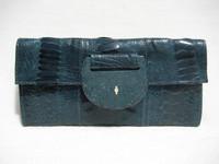 R & Y AUGOUSTI Teal BLUE OSTRICH LEG & STINGRAY Skin CLUTCH