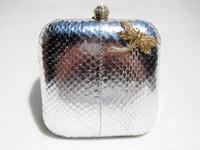 Metallic SILVER Jeweled 1980's COBRA Snake Skin CLUTCH Evening Bag - Dragonfly - SASHA