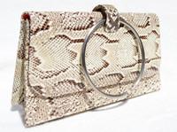 Versatile 1990's Palest Yellow Python Snake Skin Handbag Shoulder Bag or Clutch - SARIAN