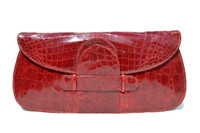"""Gorgeous RED 16"""" 1940's CROCODILE Belly Skin Clutch Bag - ARGENTINA"""