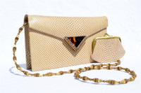 TAN 1960's-70's KARUNG Snake Skin CLUTCH Shoulder Bag - La Jeunesse