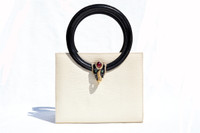 MARTIN VAN SCHAAK 1960's-70's Black & Cream Lizard Skin Handbag - Jeweled Elephant!
