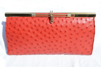 Timeless 1960's-70's Ceyenne Red Classic Style Ostrich Skin Clutch Shoulder Bag
