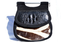 Custom 1960's Hornback CROCODILE & ZEBRA Fur Shoulder Bag