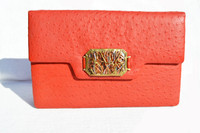 RED 1970's-80's Full Quill Ostrich Skin Clutch Shoulder Bag