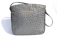 Gorgeous 11 x 11 GRAY 1980's OSTRICH SKIN Shoulder Bag Tote CORBEAU