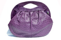 "Late 1990's - 2000's XXL 18"" x 14"" Radiant Orchid PURPLE OSTRICH Skin CLUTCH Handbag Shoulder Bag - SABATINI"