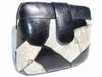 BLACK & GRAY 1970's FROG SKIN Clutch Shoulder Bag