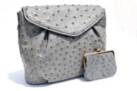 L'Oro BOLSETTA 1980's-90's GREY Paloma Ostrich Skin Shoulder Bag w/Purse!
