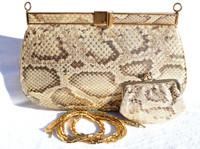 Jeweled Matte METALLIC GOLD 1980's PYTHON Snake Skin Clutch Shoulder Bag - LEIBER