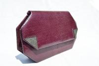 PURPLE Plum 1990's JUDITH JACK Karung Snake Skin CLUTCH Shoulder Bag w/Marcasites!