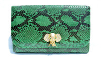 GREEN 1970's-80's PYTHON Snake Skin Clutch Shoulder Bag - Jeweled Elephant!