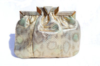 Petite SHARIF 1970's-80's Metallic Iridescent Gold Leopard Print Karung Snake Skin Clutch Cross Body Bag