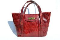 1940's-50's DECO Style RED Cobra Snake Skin Handbag