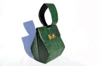 GREEN Deco Style 1940's COBRA Snake Skin Wristlet Purse
