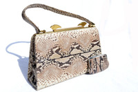 1960's-70's Natural MATTE Finish PYTHON Snake Skin Handbag
