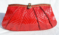Petite RED 1980's JUDITH LEIBER Cobra Snake Skin CLUTCH Shoulder Bag