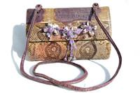 1970's PURPLE PYTHON Snake Skin SHOULDER Bag - FLOWERS - Varon