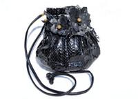 Custom 1970's-80's Black PYTHON Snake Skin CROSS Body Shoulder Bag - Ostrich Skin Flowers!