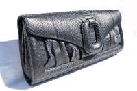 2007 Jet Black PYTHON Snake Skin CLUTCH Shoulder Bag