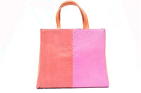 COLOR BLOCK Orange & Pink 1970's-80's PYTHON Snake Skin Tote Handbag Shoulder Bag - ANDREA PFISTER