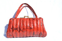1940's-50's RED & BLACK Quilted BOA Snake Skin Handbag