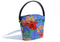 CARLOS FALCHI 1980's-90's Blue Suede & Python Snake Skin Handbag