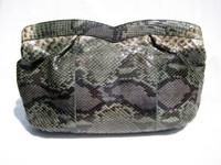 1970's GREEN & BLUE PYTHON Snake Skin Clutch Shoulder Bag