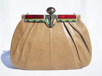 Tan JEWELED 1970's-80's KARUNG Skin CLUTCH Bag - LA JEUNESSE