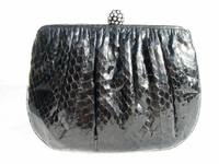 BLACK Jeweled 1980's COBRA Snake Skin CLUTCH Evening Bag