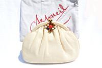 1970's Ivory ASHNEIL Karung Skin Clutch Bag w/JEWELED Clasp!