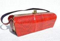 Long RED Deco Style 1950's-60's COBRA Snake Skin Box Purse