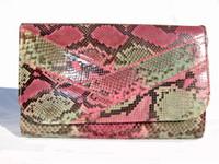 1970's PINK/GREEN PYTHON Snake Skin Clutch SHOULDER Bag G3-177