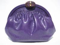 Purple 1970's-80's FINESSE LA MODEL KARUNG Snake Skin Clutch