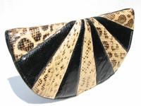 """LARGE 13.5"""" 1980's ANACONDA & COBRA Snake Skin CLUTCH Bag"""