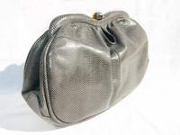 1970's-80's GRAY SUSAN GAIL KARUNG Snake Skin CLUTCH Shoulder Bag