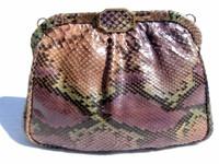 1970's Pastel PYTHON Snake Skin Clutch/Shoulder Bag - Spain